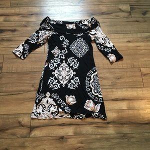 Women's black and white boat neck dress size sm